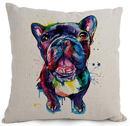 Cotton Linen Cartoon Lovely Animal Abstract Oil Painting Adorable Pet Dogs French Bulldog Throw Pillow Covers Cushion Cover Decorative Sofa Bedroom Living Room Square 18 Inches (Bulldog Throw compare prices)