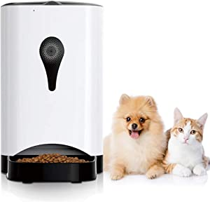 KULED Smart Pet Feeder Compatible with Alexa, Google Home, Automatic Dog Cat Food Feeder WiFi 4.5L Control Via Phone App, Timer, Remote Auto Feeding