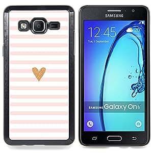 Stuss Case / Funda Carcasa protectora - Corazón Rosa Blanco Amor minimalistas Líneas - Samsung Galaxy On5 O5