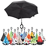 Sharpty Inverted Umbrella, Double Layer Windproof Umbrella, Reverse Umbrella, Umbrella with UV Protection, Upside Down Umbrella With C-Shaped Handle