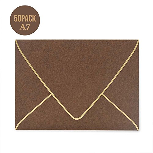 A7 Brown Envelopes 5 x 7 ,50Pack,- For 5x7 Cards| Self Seal| Perfect for Weddings, Invitations, Photos, Graduation, Baby Shower| 250GSM Luxury paper|5.25 x 7.25 Inches (Brown) Baby Shower Invitations Greetings
