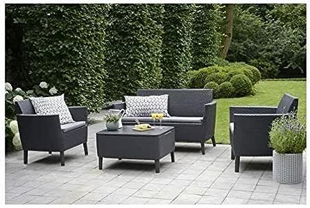 Keter - Conjunto de jardín Salemo Lounge con cojines incluidos, Color grafito: Amazon.es: Jardín