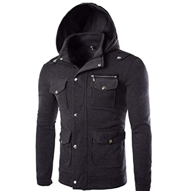 879dbbe2c2f91 Amazon.com: Amiley mens hoodies,Mens Premium Solid Hoodie Tops Fashon Full  Zip Pockets Hooded Sweatshirt Outwear: Shoes