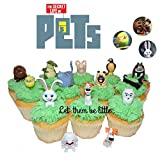 Secret Life of Pets Movie Cupcake Toppers 14 pc. Figures Plus Set of 3 colorful Pet Buttons