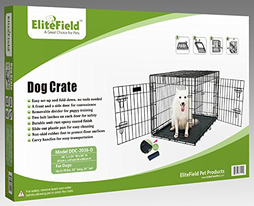 EliteField 2-Door Folding Dog Crate with RUBBER FEET, 5 Sizes, 10 Models Available (2-Door Crate with Divider, 36