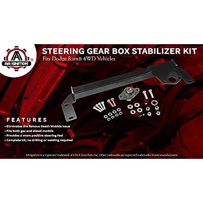 Steering Gear Box Stabilizer Kit - Fits 1994, 1995, 1996, 1997, 1998, 1999, 2000, 2001 Dodge Ram 1500, 94-02 Dodge Ram 2500, 3500 4WD - Steering Brace Bar - DSS Death Wobble Fix - Power Steering 4x4: Automotive