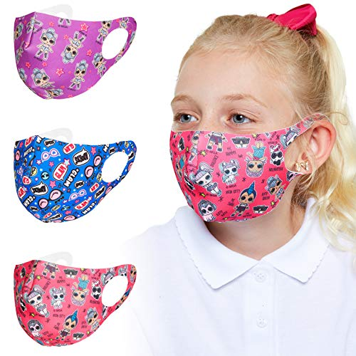 L.O.L. Surprise! Kids Face Masks, 3 Pack Reusable Mask for Indoor Outdoor Use, Washable Face Covering for Girls in…