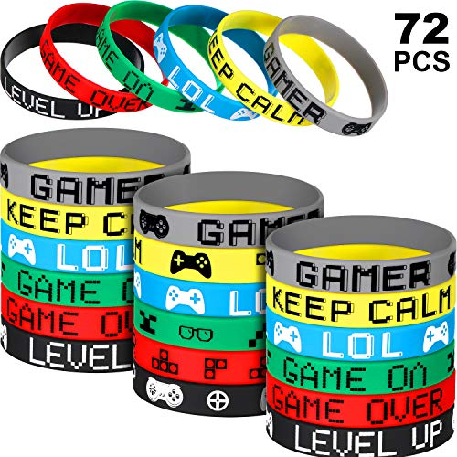 72 Pieces Video Game Bracelets Rubber Bracelets Game Party Wristbands Supplies Colored Silicone Bracelets for Gamer Birthday Party Favors, 6 Styles (72 Pieces) ()