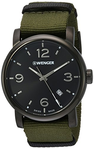 Wenger-Mens-Urban-Metropolitan-Swiss-Quartz-Stainless-Steel-and-Nylon-Casual-Watch-ColorGreen-Model-011041130