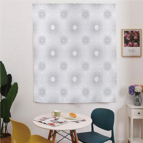 Grey Decor Blackout Window curtain,Free Punching Magic Stickers Curtain,Spiral Contoured Diagonal Circular Small and Large Lines Gradient Sketchy Design,for Living Room,study, kitchen, dormitory, Hote