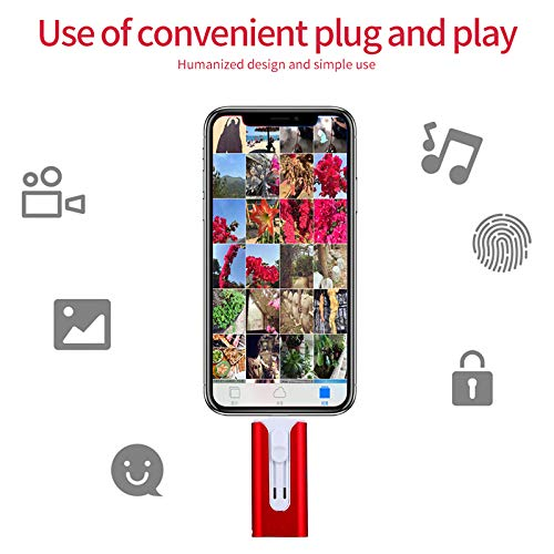 UPSTONE USB 3.0 128GB iPhone Flash Drive for iPhone X XR XS MAX,Photo Stick for iPhone 6,iPhone 6 Plus,iPhone 8 Plus, iPad Pro,External Storage for iPhone iPad USB(red)