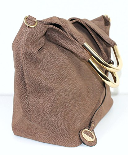 Limited Colors Handtasche Damen Shopper Schultertasche Henkel Lederlook Taupe vdcL4oI
