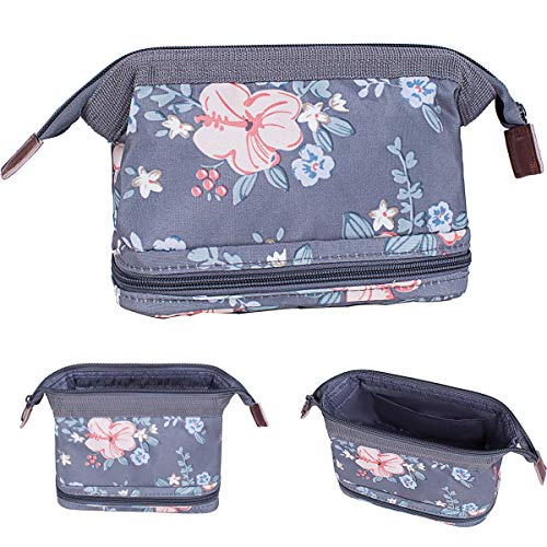 Makeup Bag/Travel Cosmetic Bags/Brush Pouch Toiletry Kit Fashion Women Jewelry Organizer with Zipper Make Up Carry Case Pencil Holder Portable Cube Purse (Dark Gray)
