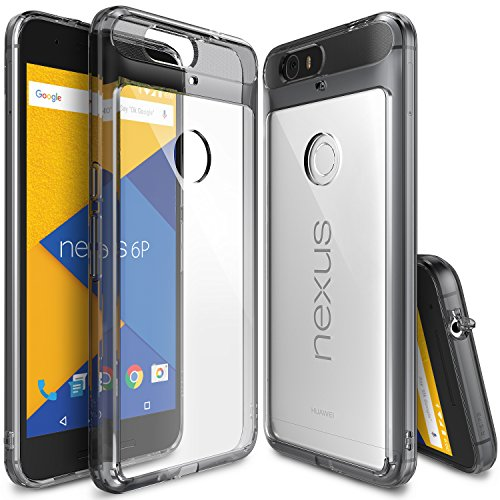 Nexus 6P Case, Ringke [Fusion] Clear PC Back TPU Bumper w/ Screen Protector [Drop Protection/Shock Absorption Technology][Attached Dust Cap] For Huawei Nexus 6P - Smoke Black