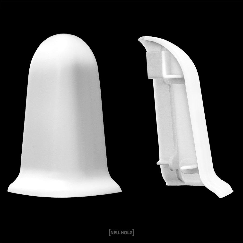 Neu NEUHOLZ® AUSSENECKE für Sockelleisten Weiß 60mm Fußleisten Laminat  UN76