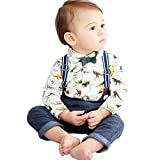 Baby Boys Pants Set Clothes on Sale Dinosaur Gentleman Bowtie Shirt Romper Tops Suspenders Pants Outfit Clothing set 2 Pcs