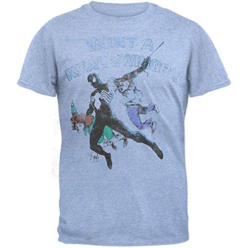 Spider-man - Mens Real Swinger Soft T-shirt X-large Light Blue