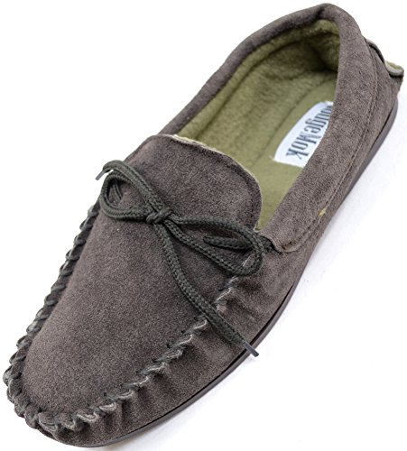 Mens Traditional Genuine Suede Leather Moccasin/Slippers with Rubber Sole - Brown - 8 US ()