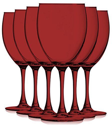 Red Colored Nuance Wine Glassware - 10 oz. set of 6- Additional Vibrant Colors Available by TableTop King