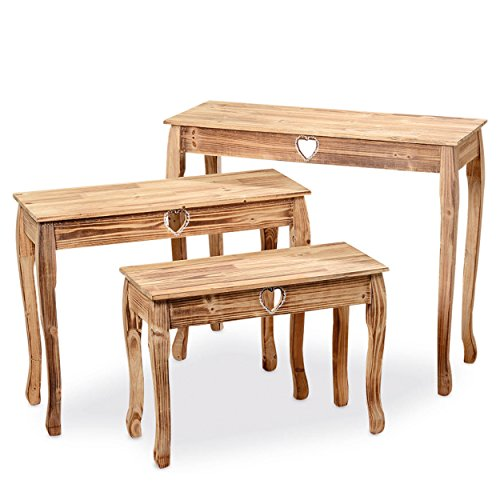 The Farmer's Market Console Tables, Set of 3, Sweet Heart Accents, Artisan Crafted, Natural Wood, Hand Painted Rustic White Details, 36 1/2, 31 1/2, 26 3/4 Inches Long, By Whole House Worlds (Coffee Hand Painted Console)