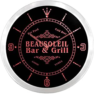 ncu02835-r BEAUSOLEIL Family Name Bar & Grill Cold Beer Neon Sign LED Wall Clock