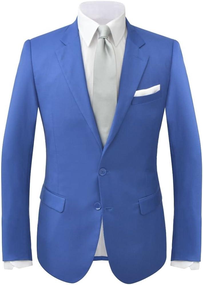 vidaXL Traje de chaqueta de hombre 2 piezas azul real talla 48 ...