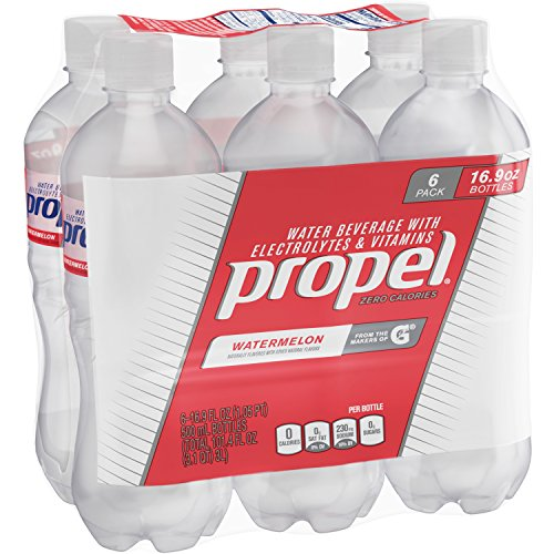 Propel Water Watermelon Flavored Water With Electrolytes, Vitamins and No Sugar 16.9 Ounces (Pack of 6)