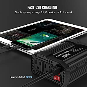 MoKo 200W Car Power Inverter, [2 AC Outlets + 2 USB Ports] DC 12V to 110V AC Converter Adapter, with 3.1A Dual USB Ports Battery Charger for iPhone X / 8 / 8 Plus, Laptop, Tablet, Camera, etc. - Black