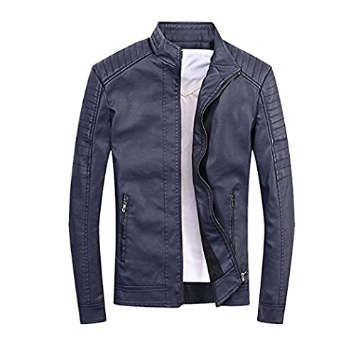 Modern Fantasy Mens Mens Classic Stand Collar Motorcycle Pu Leather Jacket Size US Dark Blue XXS - Beaufort Waxed Cotton Jacket