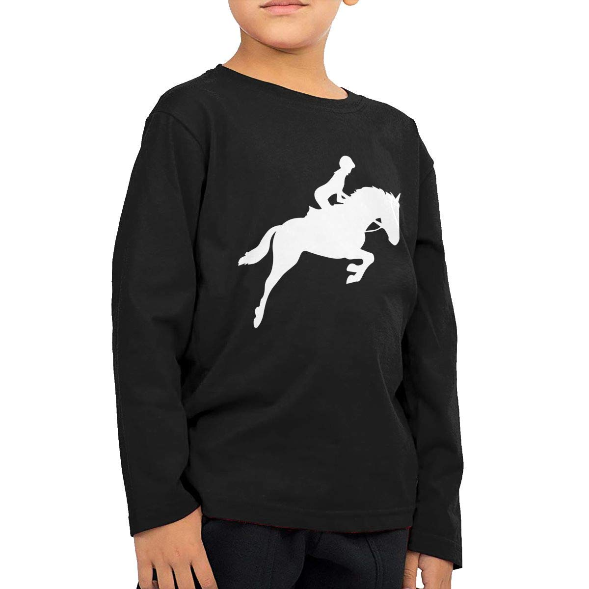 Baby Girls Kids Horse Riding Silhouette-1 Printed Long Sleeve 100/% Cotton Infants Tee Shirt