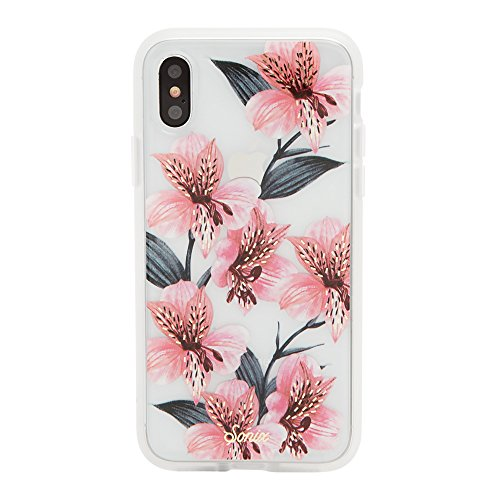 iPhone Xs, iPhone X, Sonix Tiger Lily (Pink Flowers) Cell Phone Case [Military Drop Test Certified] Womens Protective Clear Series for Apple iPhone X, iPhone Xs