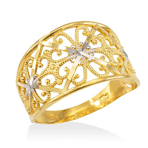 (Fine 10k Two-Tone Gold Milgrain Edge Four Leaf Clover Filigree Cocktail Ring (Size 9))