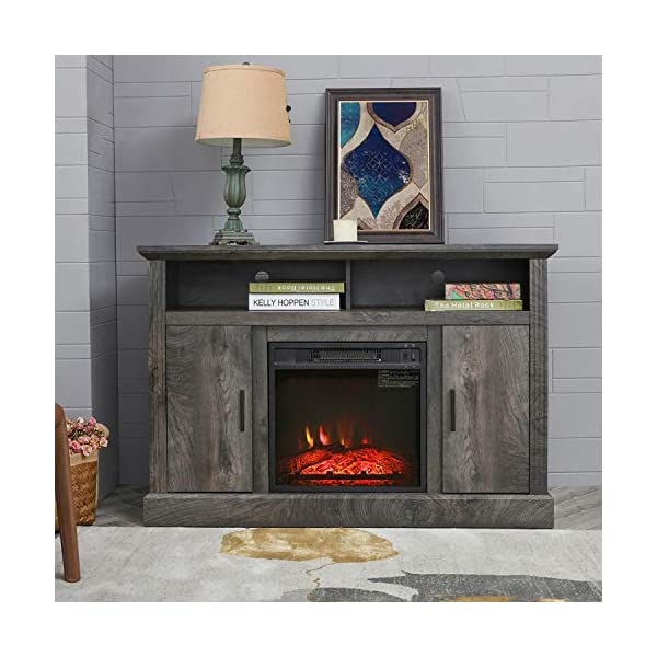 "Festival Depot 43"" Wide TV Stand with Electric Fireplace Console for TVs up to 55"",for Living Room (43inch Dark Grey)"