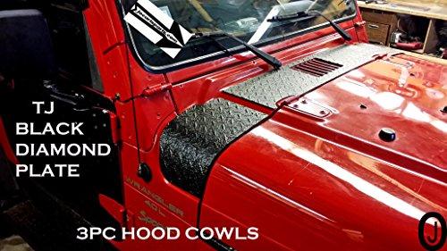 (Jeep Wrangler Tj Black Diamond Plate 3 Pc. Upper Hood Cowl Set)