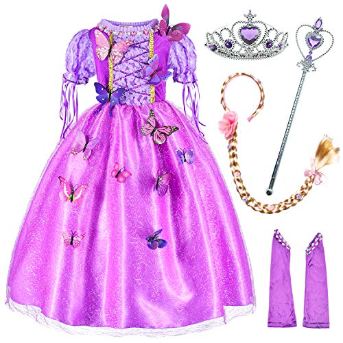 Long Hair Rapunzel Princess Costume for Girls Party Dress Up with Long Braid and Tiaras Set Age of 5-6 Years(120cm) Purple