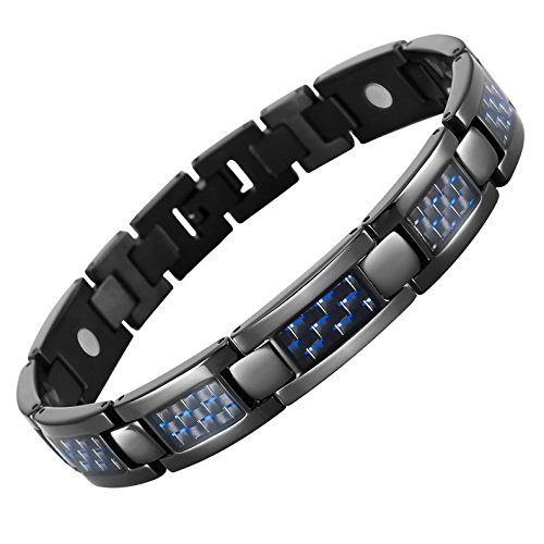 [Starista Mens Black Titanium 4 Element Magnetic Bracelet Blue Carbon Fiber Inlay in Classy Giftbox] (Custom Costumes Jewelry Wholesale)