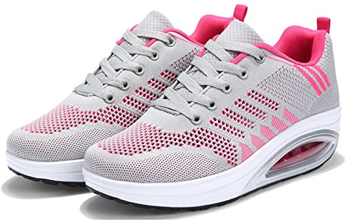 JARLIF Womens Comfortable Platform Walking Sneakers Lightweight Casual Tennis Air Fitness Shoes US5.5-10 Gray 0AcyeWYpz