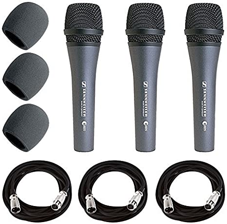 Sennheiser E835 dinámico cardioide micrófono Vocal Pack de 3 + 3 x ...