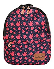 Mintra Polyester Zip-Closure Front-Pocket Waterproof School Backpack for Kids - Navy and Pink