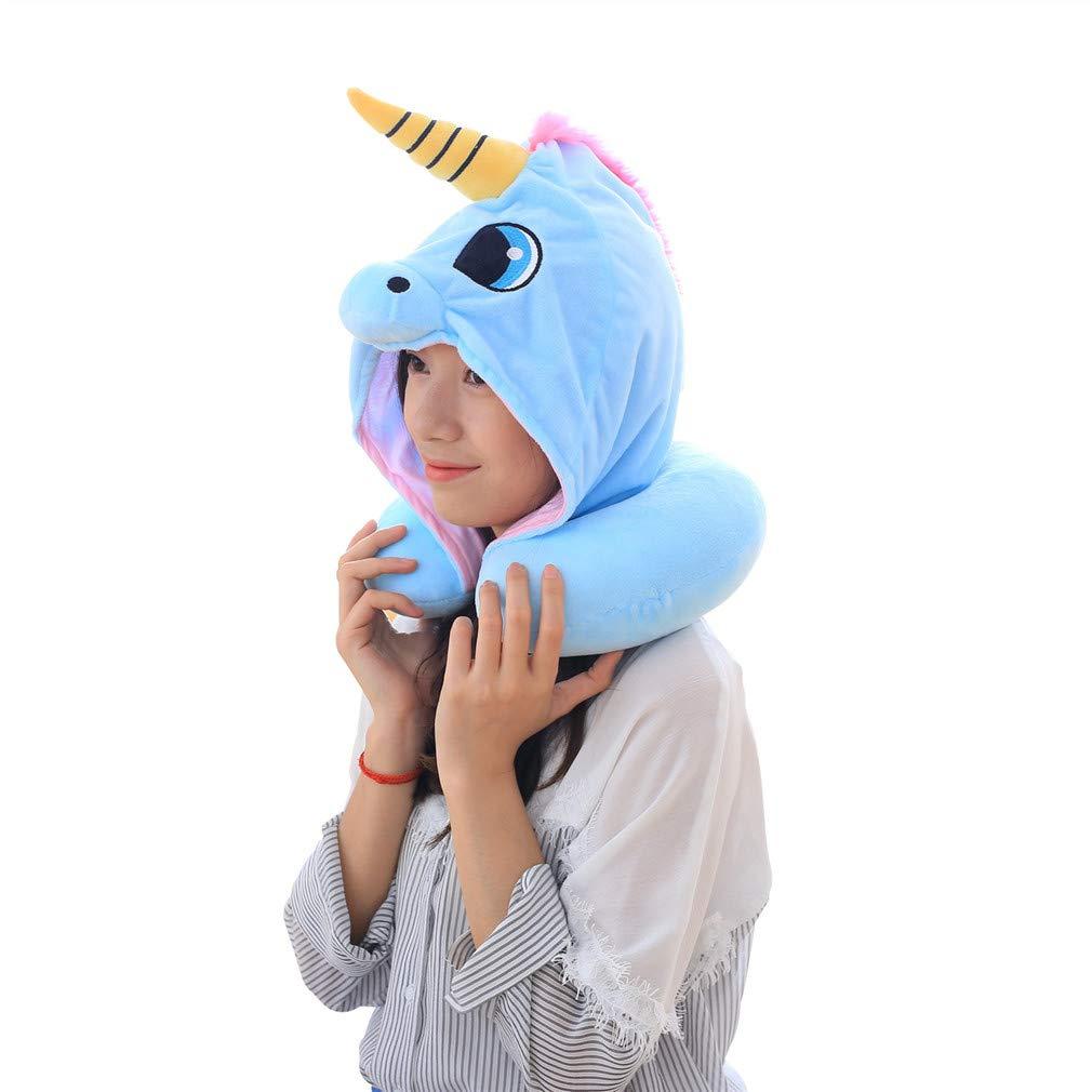 Andy&Echo Cute Unicorn Travel Pillow PP Cotton Hoodies Neck Pillow (Blue)