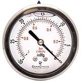 "2-1/2"" Oil Filled Vacuum Pressure Gauge - Stainless Steel Case, Brass, 1/4"" NPT, Center Back Mount Connection -30HG/0"