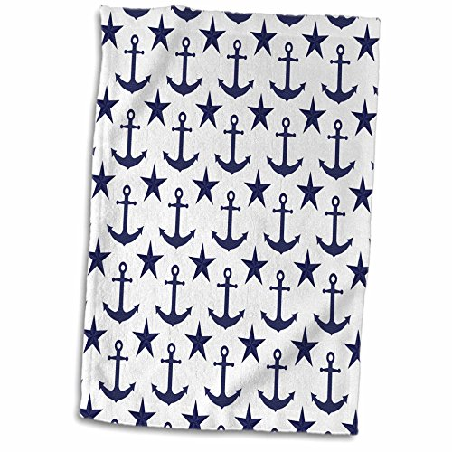 3dRose-Janna-Salak-Designs-Nautical-Navy-Blue-and-White-Anchor-and-Nautical-Star-Pattern-Towel