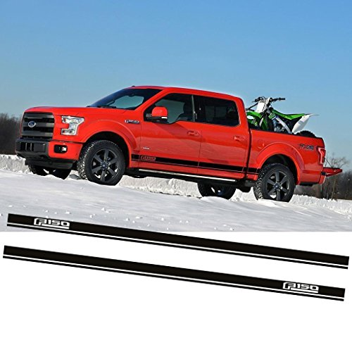 Xotic Tech Vinyl Stripe Decal Car Body Rocker Side Skirt Sticker for Ford F-150 2015-2018 Glossy Black