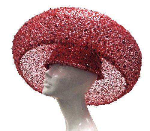 Red Birdnest Hat Couture Stella Rhinestones