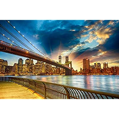 Adult 1000 Piece Jigsaw Puzzle Brooklyn Bridge DIY Kit Wooden Puzzle Modern Home Decor Boys Girls Unique Stress Reliever Gift: Toys & Games