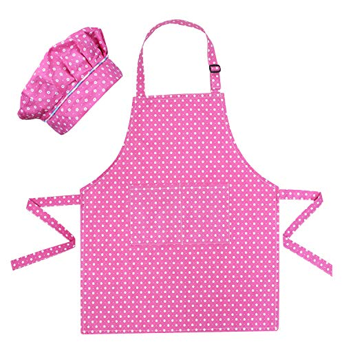 SUOSDEY Kids Apron and Hats for Cooking Baking Painting with 2 Pockets Pink Adjustable Aprons for Girls Boys Aprons for Kids Age 3-12 (Girls Apron)