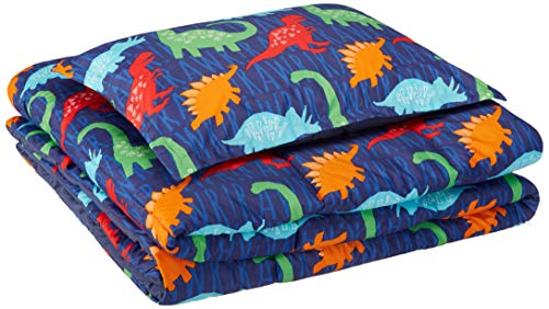AmazonBasics Kids Comforter Set - Soft, Easy-Wash Microfiber - Twin, Multi-Color Dinosaurs