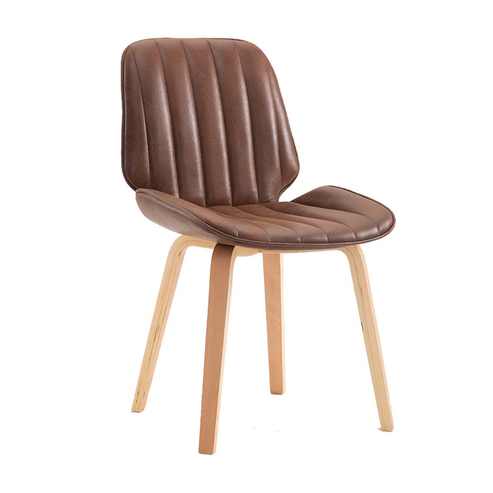 Suede fabric brown Upholstered Dining Chairs,Modern Backrest Leisure Chair with Solid Beech Wood Legs, Ergonomic Design,for Dining Room Living Room Kitchen Cafe Office