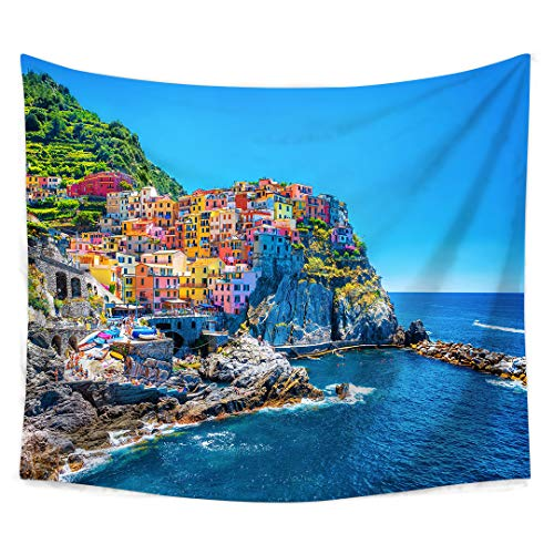 Mediterranean Poster Bed - Roslynwood Farm House Decor Tapestry, Italian Mediterranean House by Cliffs Dramatic Weather Sea Cinque Terre Print, Wall Hanging for Bedroom Living Room Dorm