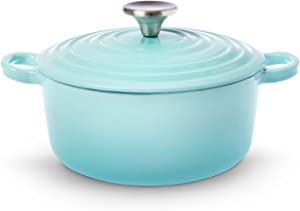 House of Living Art 4.7-Quart Enameled Cast Iron Covered Casserole – Blue Mist